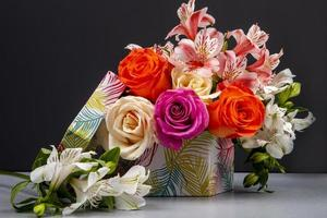 Colorful bouquet in a box