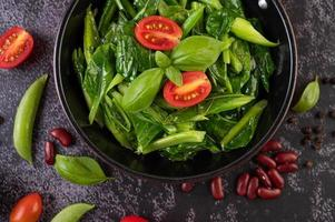 Stir-fried kale in a pan photo