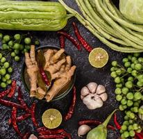 Rice noodles and chicken feet with limes photo