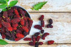 Top view of mulberries photo