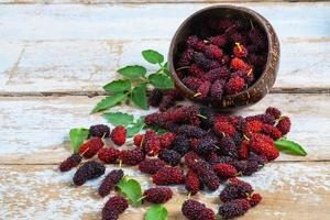 Mulberries in a wooden bowl photo