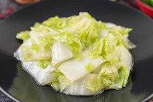 Close-up of stir fried cabbage on a plate photo