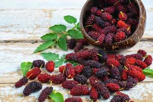 Fresh mulberries in a wooden bowl photo