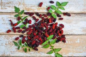Top view of fresh mulberries photo