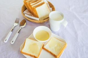 Bread and dipping sauce on a table