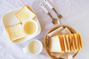 Breakfast, bread and milk on the table