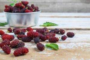 Mulberries on a table photo