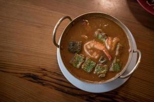 Cha-om sour soup with shrimps photo