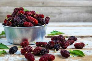 Close-up of mulberries in a bucket photo