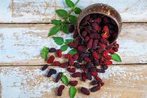 Mulberries and a bowl photo