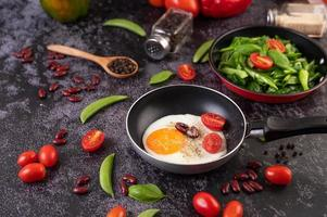 Fried eggs in a frying pan with tomatoes