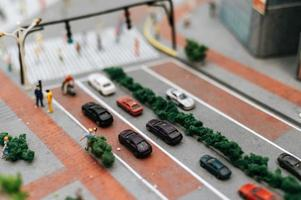 Close-up of miniature road landscape