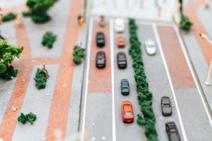 Close-up of miniature street landscape