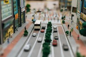 Close-up of miniature toy street landscape