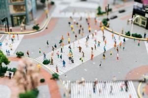 Small tilt shift people cityscape