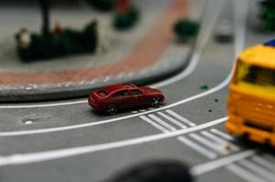 Close-up of toy city landscape