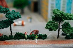 Close up of miniature people