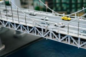 Miniature tilt shift city bridge