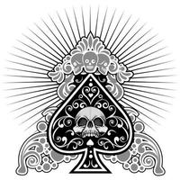 suits of cards ace of spades with skull vector
