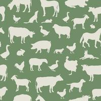 Livestock seamless pattern. Farm animals background. Farm animals silhouette vector set.