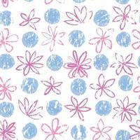 Seamless floral pattern with polka dot ornament. Stylish drawn dotted backdrop with flowers. Abstract textured circle and flowers ornament.