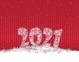 Happy New Year red festive curtain background and snow. Winter holiday greeting card design with snowfall wallpaper. Greeting Card with Lettering 2021 done from snowflakes vector