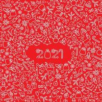 Christmas icon holiday background. Happy New 2021 Year greeting card
