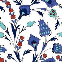 Floral seamless pattern in retro oriental ornamental style. Abstract ornamental flowers. Flower background