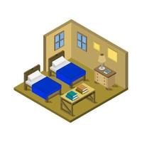 Isometric Bedroom In Vector On White Background