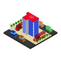 Isometric Fire Station On White Background