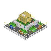 Isometric Supermarket Illustrated On White Background