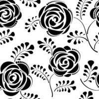 Floral seamless pattern with flower rose. Abstract swirl line bloom background. Petal tiled wallpaper vector