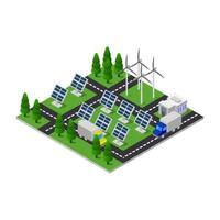 panel solar isométrico sobre fondo blanco