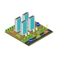 Isometric Skyscraper Illustrated On White Background