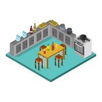Isometric Kitchen Room On White Background