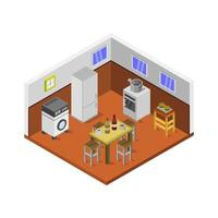 isometric kitchen room in vector on white background