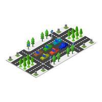 estacionamiento isométrico en vector sobre fondo blanco