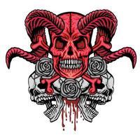 cráneo grunge con rosas vector
