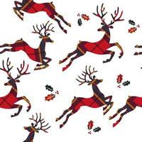 Seamless pattern with reindeer and leaves on plaid background. Vector illustration.