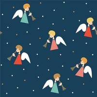 Navidad de patrones sin fisuras con ángeles, trompetas y estrellas, ilustración vectorial vector