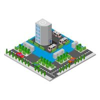 Isometric Hospital In Vector On White Background