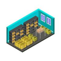warehouse isometric in vector on a white background