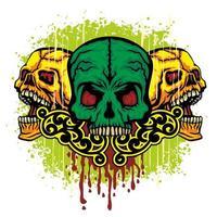 color grunge skull vector
