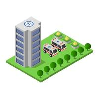 Isometric Hospital Illustrator In Vector On White Background