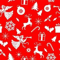 Seamless Christmas pattern of angel, deer, snowflakes, gloves on a red background.