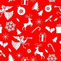 patrón de Navidad sin fisuras de ángel, ciervos, copos de nieve, guantes sobre un fondo rojo.