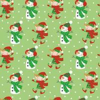 Personajes de dibujos animados de Navidad de patrones sin fisuras con elfos y muñeco de nieve sobre fondo de copos de nieve de invierno
