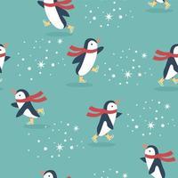 Penguins skating seamless pattern vector