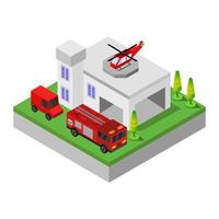 Isometric Fire Station Illustrated In Vector On White Background