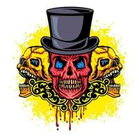 cráneo de grunge con sombrero vector